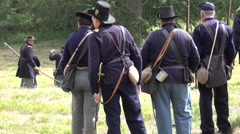 Civil War soldiers carrying injured Stock Footage