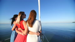 Beautiful girl ride on a yacht - party and bachelorette party Stock Footage