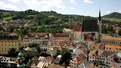 Cesky Krumlov Old Town With Saint Vitus Church Stock Footage