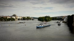 View Of Vltava River With Boats Sailing Up River Stock Footage