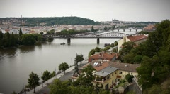 View Of Vltava River From Vysehrad Stock Footage