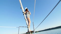 Beautiful girl on a yacht captain - party and bachelorette party Stock Footage