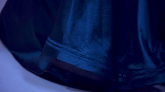Beautiful dark blue gown in close up Stock Footage
