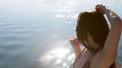 Beautiful girl dancing on a yacht - party and bachelorette party Stock Footage