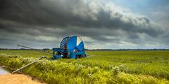 Water Supply for Field during Drought in Summer Stock Photos