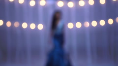 Portrait of slim Indian American woman fashion model wearing blue gown Stock Footage