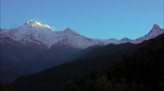 Sunrise at the Himalayan mountain range.  Timelapse Stock Footage