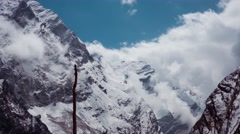 Clouds on the way to Machapuchare  basecamp, Annapurna, Himalayas. Time lapse Stock Footage