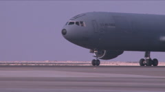 A U. S. Air Force KC-10 taxiing on the runway. Stock Footage