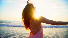 Beautiful Caucasian American woman on leisure vacation beach Stock Footage