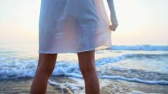 Barefoot carefree ethnic woman enjoying holiday beach Stock Footage