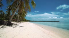 Moving forward on white sand beach on tropical island, Siargao, Philippines Stock Footage