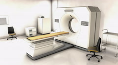 Specialist hospital CT scan device room. Stock Footage