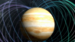 Artist rendering, Jupiter magnetic field. Stock Footage