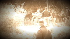 Civil War soldiers fire canon (Archive Footage Version) Stock Footage