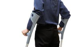 Closeup of woman with crutches ,walk rehabilitation Stock Photos