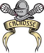 Knight Armor Lacrosse Stick Woodcut Stock Illustration