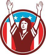 Female American Football Fan Circle Retro Stock Illustration