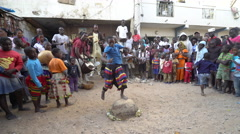 Traditional African dance in Dakar slum - Senegal Stock Footage