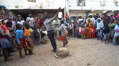 African folk dance in Dakar slum - Senegal Stock Footage
