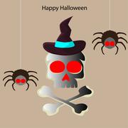 Halloween skull and two spider Stock Illustration