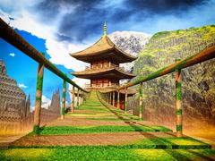 Buddhist temple in mountains with old Japanese rope bridge 3d rendering Stock Illustration