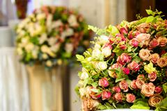 Concept, restaurant with elegant floral composition design Stock Photos