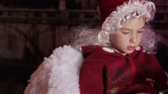 Boy with a tablet from a Christmas tree Stock Footage