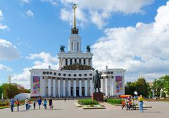 Main pavilion of Exhibition of Achievements of National Economy, Moscow Stock Photos
