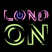 T shirt typography graphics London city neon Stock Illustration