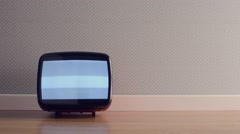 Vintage TV with static screen Stock Footage