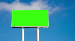 Time lapse of huge sky crapper billboard with blank green chromatic key Stock Footage