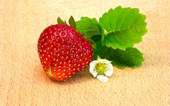 Ripe red strawberry with leaves Stock Photos