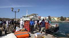 Ferry boat loading in Africa - Gore island, Dakar, Senegal Stock Footage