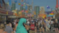 Festival Crowds Out Of Focus Blur Crowds Of People Slow Motion Stock Footage
