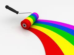 Paint roller concept 3d illustration Stock Illustration