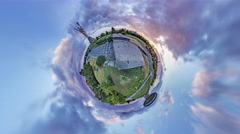 Little Tiny Planet 360 Degree. Museum 2 World War Stock Footage