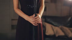 Jazz vocalist in elegant dark dress perform on stage at microphone. Make up Stock Footage