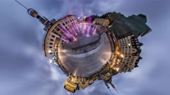 Little Tiny Planet 360 Degree. Postal Square. Stock Footage
