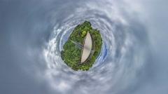 Little Tiny Planet 360 Degree. Park Bridge. Kiev Stock Footage