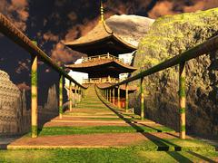 Buddhist temple in mountains with old rope bridge 3d rendering Stock Illustration