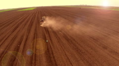 The sowing of peas in the spring. Aerial footage. Stock Footage