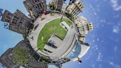 Little Tiny Planet 360 Degree, Kiev. Maidan Stock Footage