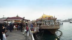 Istanbul downtown, Eminonu district fish restaurants - Turkey Stock Footage