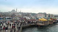 Istanbul downtown, Eminonu district fish restaurants - street scene, Turkey Stock Footage