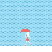 Sexy young woman or girl walking in summer rain with red dress and umbrella Stock Illustration