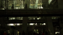 Crowd of People on the Connecting Skywalk Stock Footage