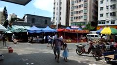 Roadside market, in Shenzhen, China Stock Footage
