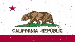 Celebratory animated flag of the great state of California Stock Footage