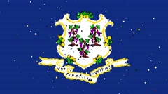 Celebratory animated flag of the great state of Connecticut Stock Footage